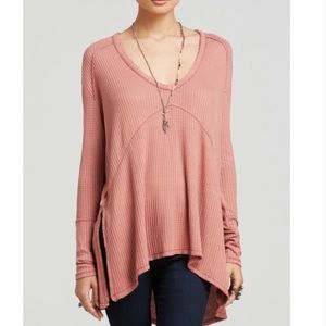 Free People Sunset Park Thermal Top Small Pink